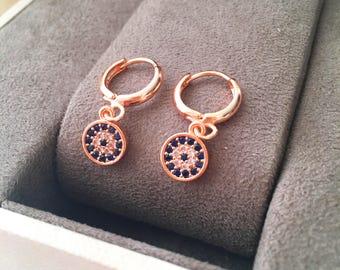 Evil eye hoop earrings, gold evil eye earrings, small hoop earrings, zirconia evil eye earrings, gold hoop earrings, evil eye jewelry