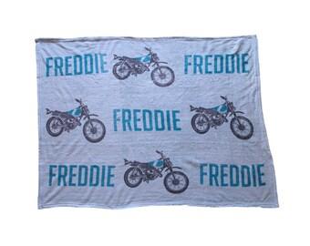 Motorbike Personalised Baby Blanket Dirt Bike Baby Blanket Personalised