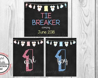 Tie Breaker Pregnancy Announcement Sign, Pregnancy Reveal, Printable, Pink or Blue, Instant Download, Chalkboard Sign, due June 2018