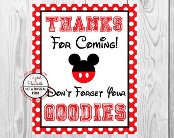 "Thanks For Coming Don't forget Your Goodies Sign, Mickey Mouse Birthday Party Sign, 8""x10"" Printable, Instant Download"
