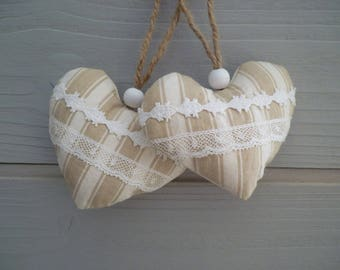 Hearts fabric lace - heart door pillow - set 2 ticking hearts fabric - hanging heart - small heart ticking