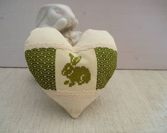 Heart fabric door pillow - embroidered heart cross rabbit - heart of Easter - easter hanging heart - heart Spring Green stitch