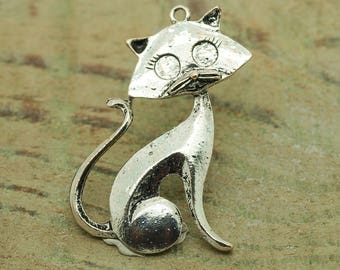 antiqued silver tone X 10 CAT charms
