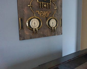Superbe Steampunk Wall Art Decor .Brass And Wood.