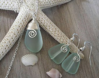 Wire wrapped Seafoam sea glass necklace + earrings jewelry set,925 sterling silver chain, gift box.beach jewelry set. Mother's Day