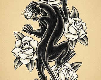 Black Panther. Old School Tattoo print.