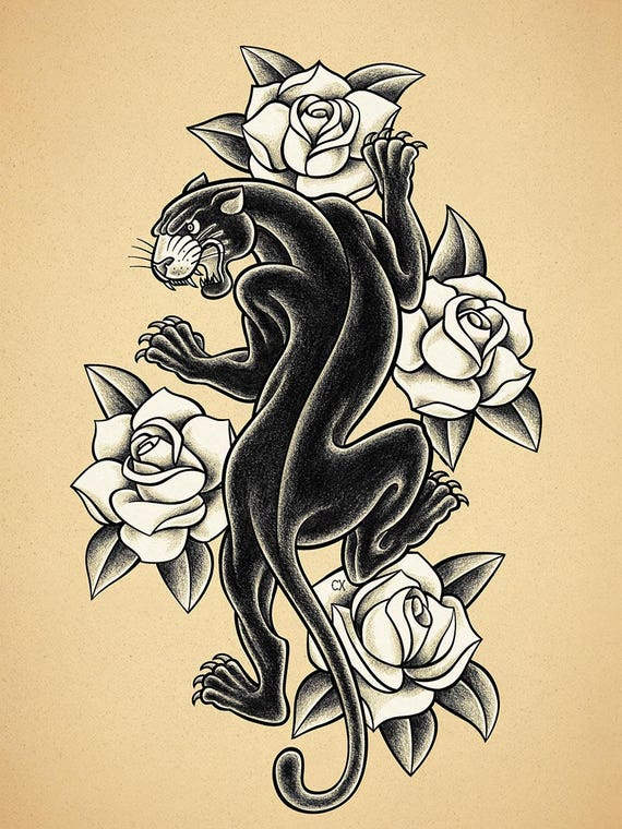 Black panther old school tattoo print for Old school panther tattoo