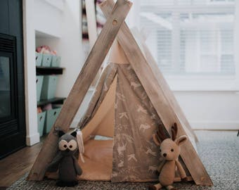 Play A-Frame Tent Teepee Grey and White Woodland Animal Rustic Distressed