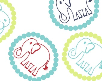 By The HALF YARD - Bridgette Lane by Valori Wells for Free Spirit, Pattern #PWVW060-BLUB Blueberry Lime Bouncing Elephants in Beaded Circles