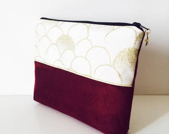 Chic clutch, suede fabric Burgundy gold and gold bias, Star charm