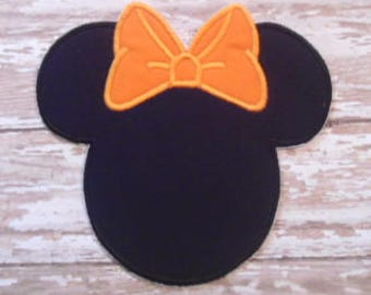 Minnie Mouse Applique - Orange Bow - Embroidered Applique - Iron On - Ready To Ship