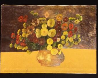 Vintage Italian flower painting, oil on canvas, large still life, original art