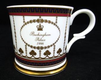 Buckingham Palace Fine Bone China Mug Blue, Red and Gold 1996 English Royal Souvenirs - Highly Collectible