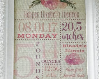 Burlap New Baby Stats/ New Baby Announcement