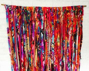 Boho Backdrop Hippie Curtains Boho Curtain Gypsy Decor Fabric Ribbon Garland