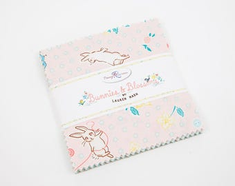 "Bunnies and Blossoms 5"" Stacker by Lauren Nash for Penny Rose Fabrics - 42 Pieces"