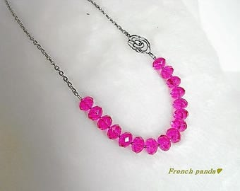 Short necklace silver chain and talk faceted fuchsia pink.