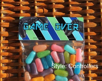Game Over Treat Bags   Gaming Birthday Treats  Boy Birthday Treat Bag Topper   Wii Playstation XBox Birthday Favors   Arcade Birthday Qty 12