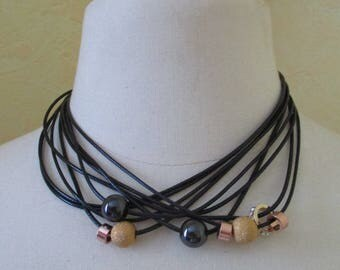 Necklace beads black leather cord