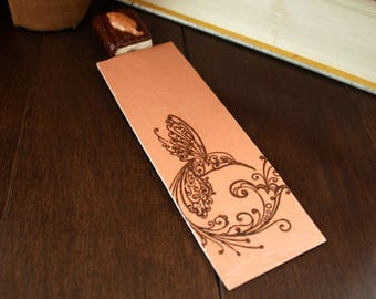 Polymer Clay MiniBook Bookmark Bark Texture with Autumn Gold Polymer Leaf on Heavy Stock Paper Hand Stamped & Imprinted Hummingbird Bookmark
