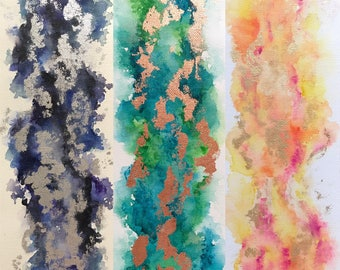 Abstract Watercolor | 12x4 Canvas