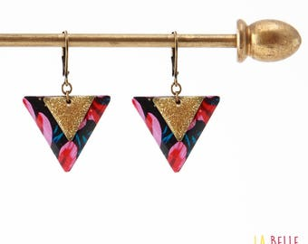 Floral pink & enameled resin triangle earrings glitter