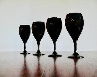 4 libbey black amethyst white wine glasses black stemmed 11oz water goblets wedding drinkware - Water Goblets