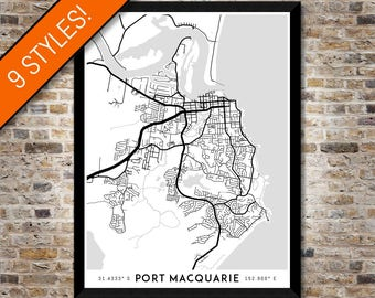 Every Road in Port Macquarie map art | Printable Port Macquarie map print, Port Macquarie print, Port Macquarie poster, Port Macquarie art