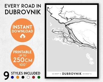 Dubrovnik map print, Printable Dubrovnik map art, Dubrovnik print, Croatia map, Dubrovnik art, Dubrovnik poster, Dubrovnik wall art print