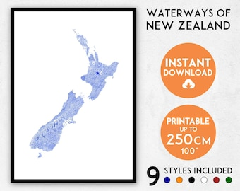 New Zealand map print, New Zealand map art, New Zealand print, New Zealand art, New Zealand poster, New Zealand wall art, NZ map, NZ print