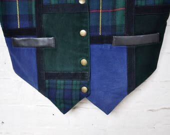 Leather and Suede Color Block Scottish Tartan/Plaid Vest