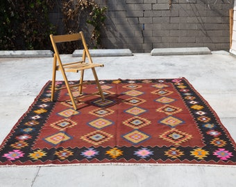 BALIKESIR Turkish Vintage Handmade Oriental Rug 8.6ft by 6.5ft