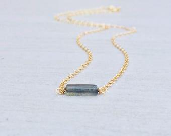 Dainty Solitaire Labradorite Stone Necklace