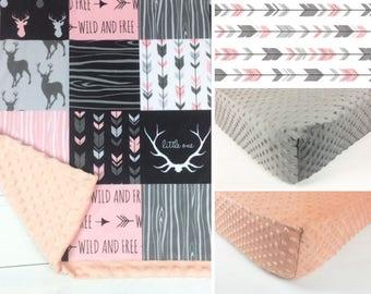 DEER CRIB SET, pink baby minky bedding, girl bedding set, pink gray deer woodland crib set, wild and free blanket, baby shower gift
