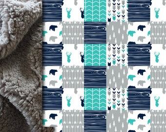 Woodland Baby minky blanket, deer bear blanket, arrows blanket, teal gray navy woodland blanket, boy blanket, baby shower gift, birth