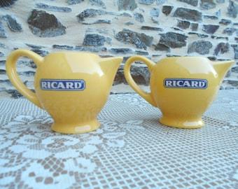 "Set of 2 French Ceramic Jugs ~ "" RICARD ""."