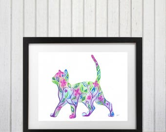 Cat Art Print, Abstract Cat, Cat Wall Decor, Cat silhouette art, Floral Cat