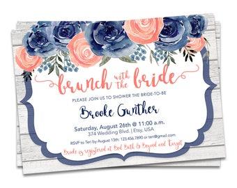 Navy Floral Bridal Shower Invitation, Navy Bridal Brunch Invitation, Rustic Bridal Shower Invitation, Printable Bridal Shower Invitation