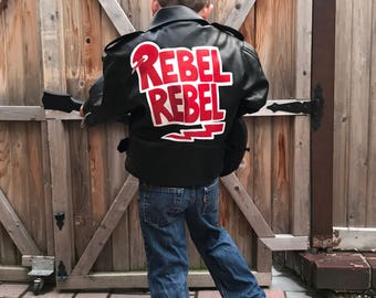 Children's Hand-Painted Vintage Biker Jacket: David Bowie / Rebel Rebel