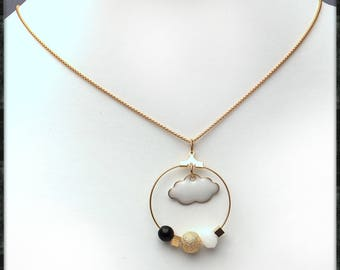Gold plated necklace with pearls and white cloud