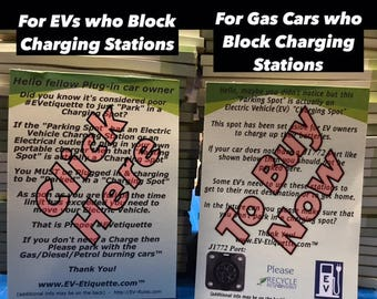 2 - EV Etiquette Notepads - 50 Uses each EV Charger Blocking Notices Electric Vehicle Charging EVetiquette WindshieldNotes ICEHOLE Blocked