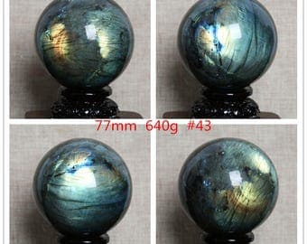 High-quality Large Rainbow And Blue Labradorite Sphere/Natural Labradorite Ball/Energy stone /Decoration/Special Gift-1point