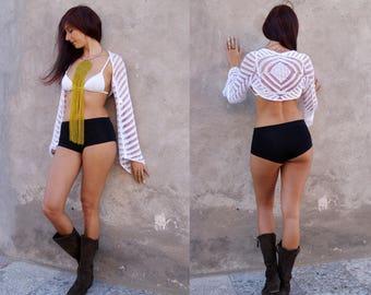 Crochet Cover Up, White, Boho, Beach Cover Up, Crochet, White Shrug, Crochet Shrug, Ibiza Style, Gypsy, Hippie, Festival, One Size
