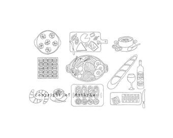 Japanese Cuisine Illustration, Mindfulness Colouring Page, Kitchen Wall Art, Dining Wall Art