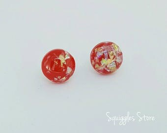Red Gold Foil Holographic Resin Hypoallergenic Stud Earrings Titanium Posts