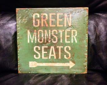 Green Monster Seats | Baseball Sign | Fenway Park Boston Red Sox | Distressed Wood Handmade | Boys Decor | Man Cave | Boston Art