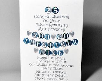 Silver Wedding Anniversary Go Thegither Card WWWE33