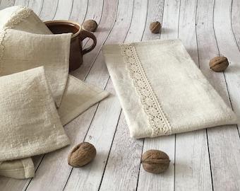 Rustic linen kitchen towels , Stonewashed linen dish towels, Rustic linen tea towels, Pure linen soft hand towels ,Eco linen towels
