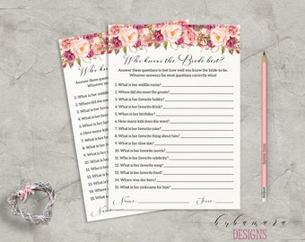 Floral Who Knows Bride Best Bridal Shower Game Digital Download Bridal Trivia Pink Peonies Printable Flowers Shower Bohemian Quiz - BG014