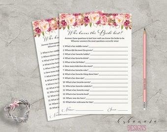 Floral Who Knows Bride Best Bridal Shower Game Digital Download Bridal Trivia Pink Peonies Printable Flowers Shower Bohemian Quiz - BG014